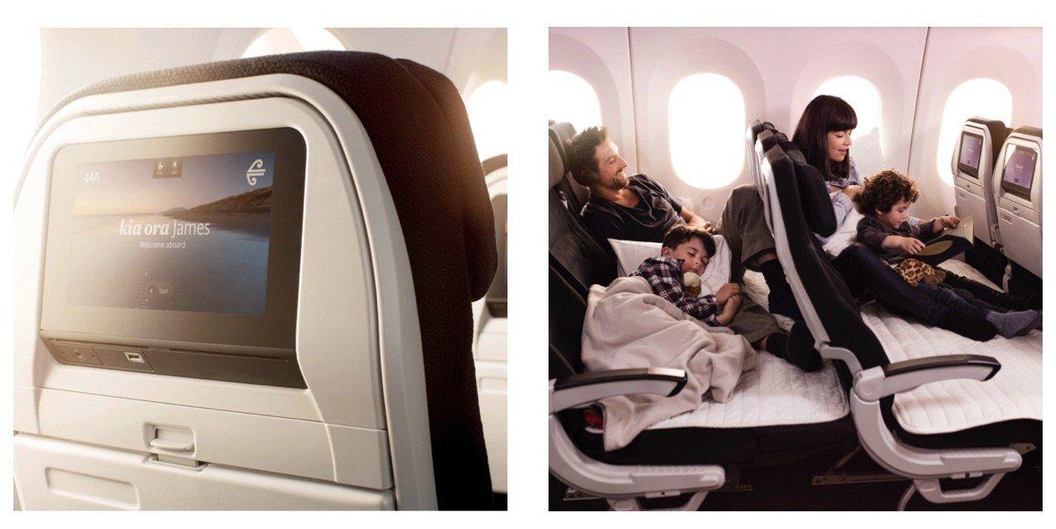 (左圖)機上娛樂系統、(右圖)空中沙發盡情伸展。 圖/紐西蘭航空 提供