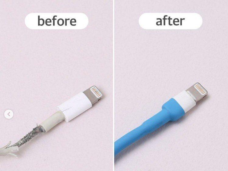 韓國大創「塑膠管」一包只要台幣約35元,可保護iPhone充電線。圖/翻攝自da...