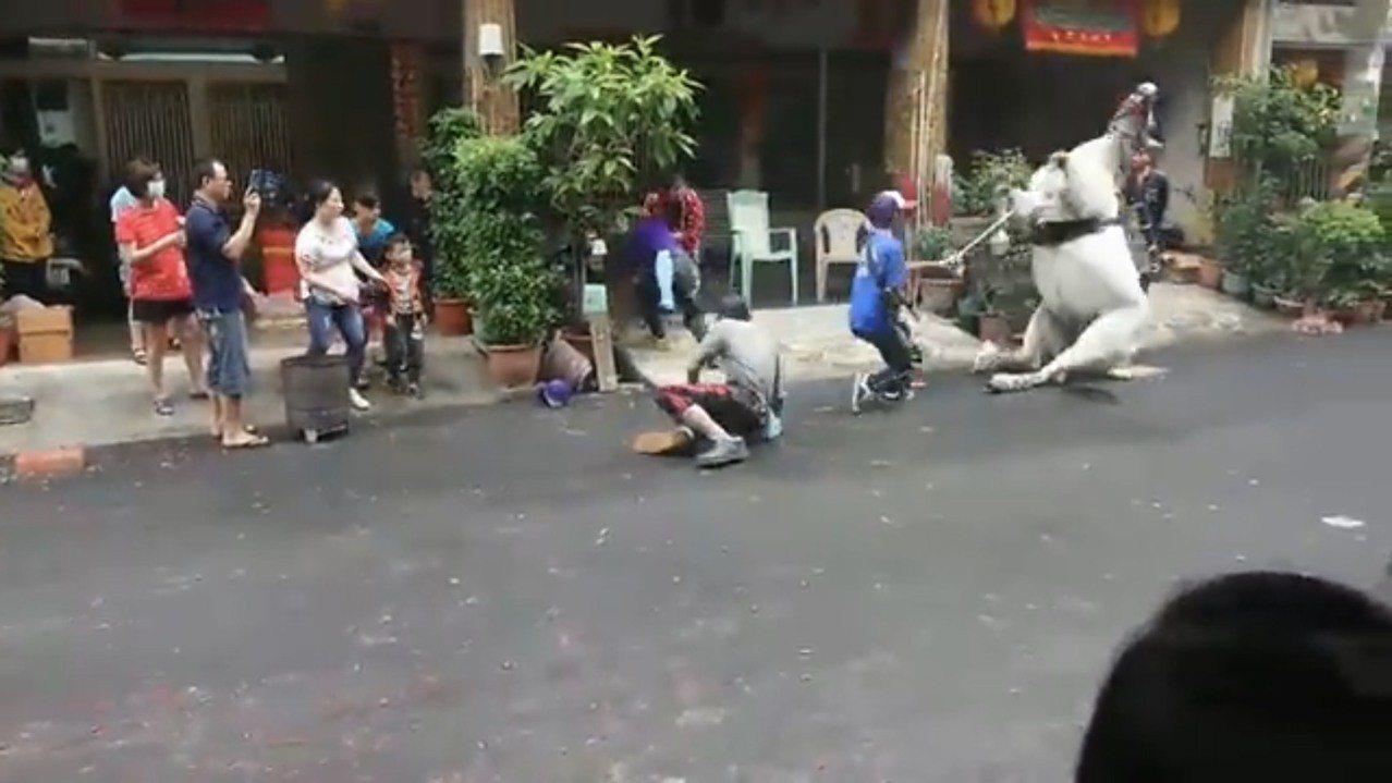 東港迎王期間發生白馬失控的情況。記者蔣繼平/翻攝