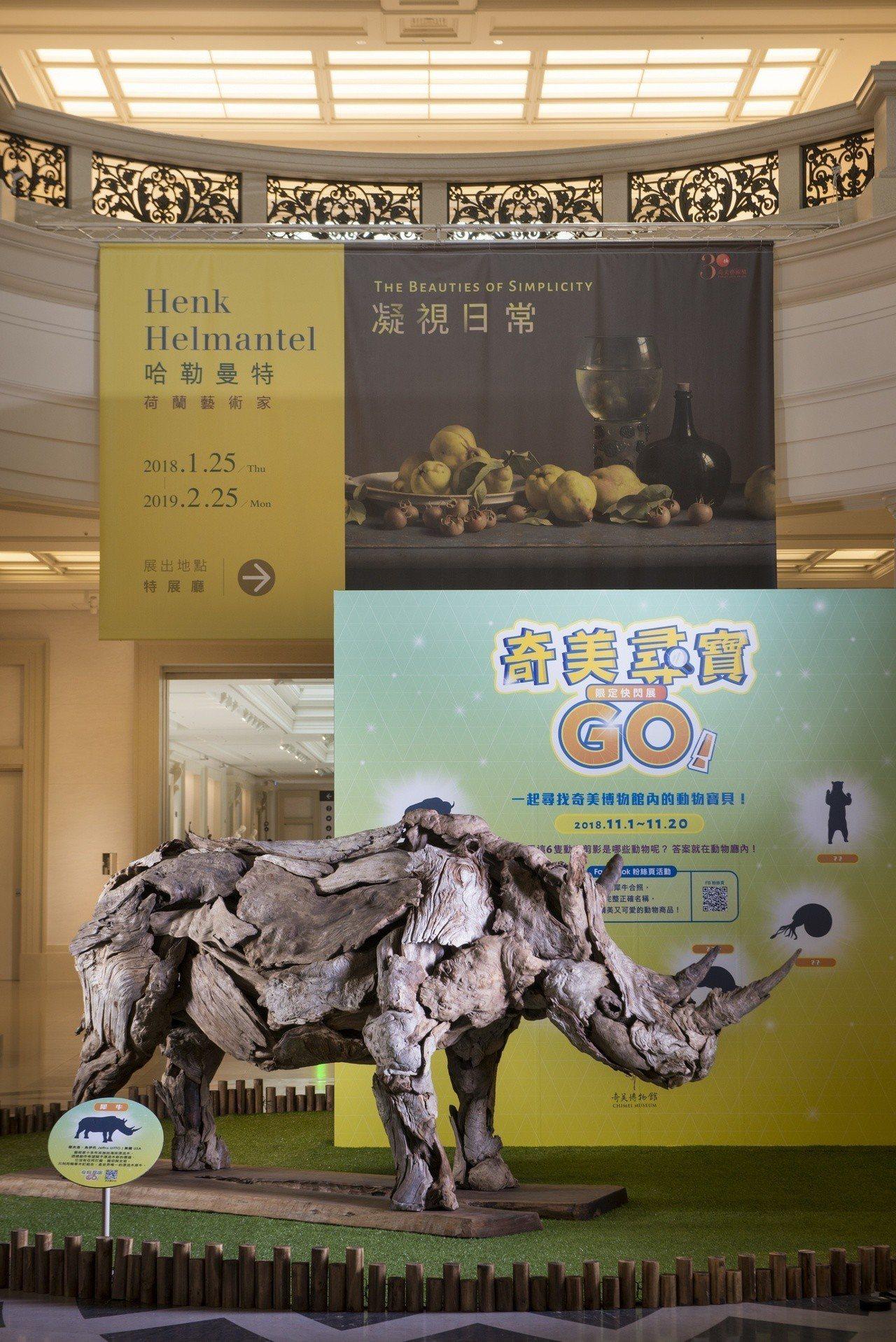 奇美博物館同步推出「奇美尋寶GO!限定快閃展」,並首度開放動物廳拍照。圖/奇美博...