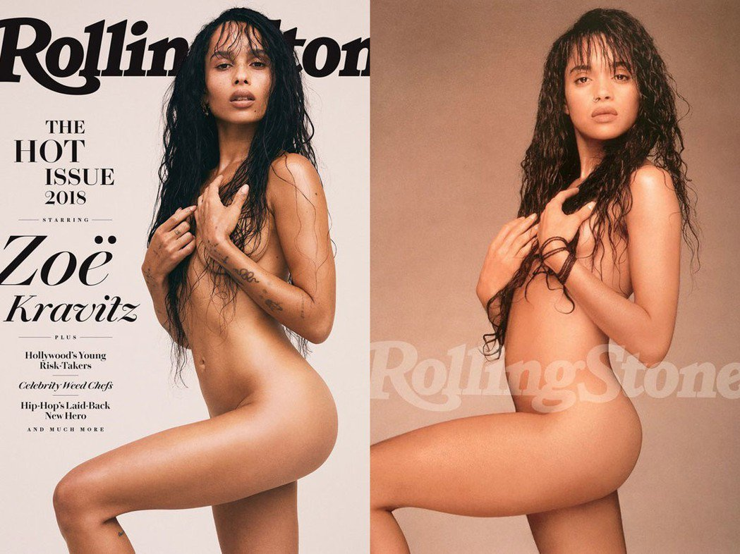 柔伊克拉維茲(左)模仿母親麗莎波奈特為「滾石」雜誌拍裸照。圖/摘自Rolling...