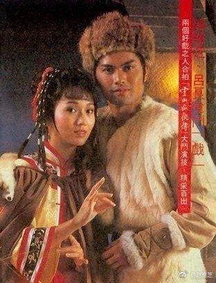 趙雅芝在「雪山飛狐」演馬春花,看起來沒比演胡斐的呂良偉年長。圖/摘自微博