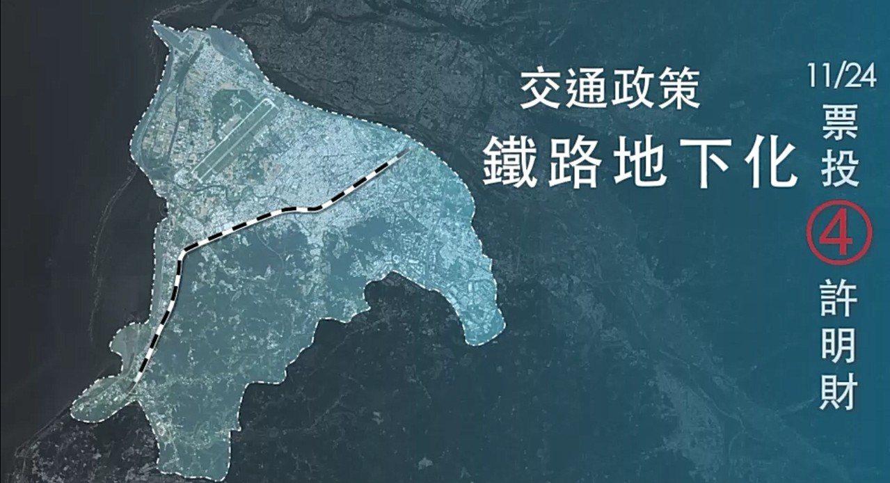 國民黨新竹市長候選人許明財提出鐵路地下化政策。 圖/許明財競選總部提供