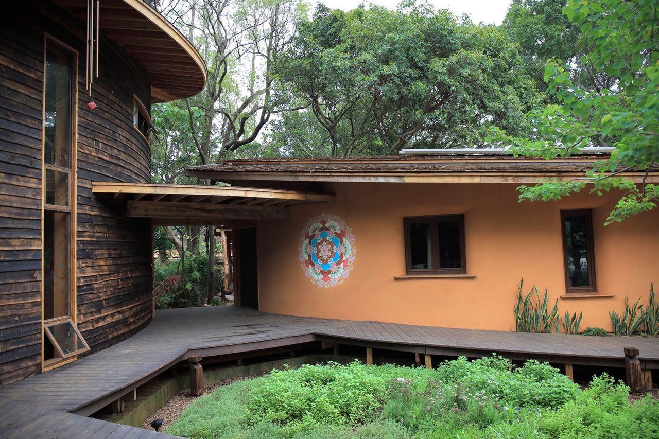 花博后里森林園區「四口之家」,以循環再生工法打造。圖/台中市政府提供