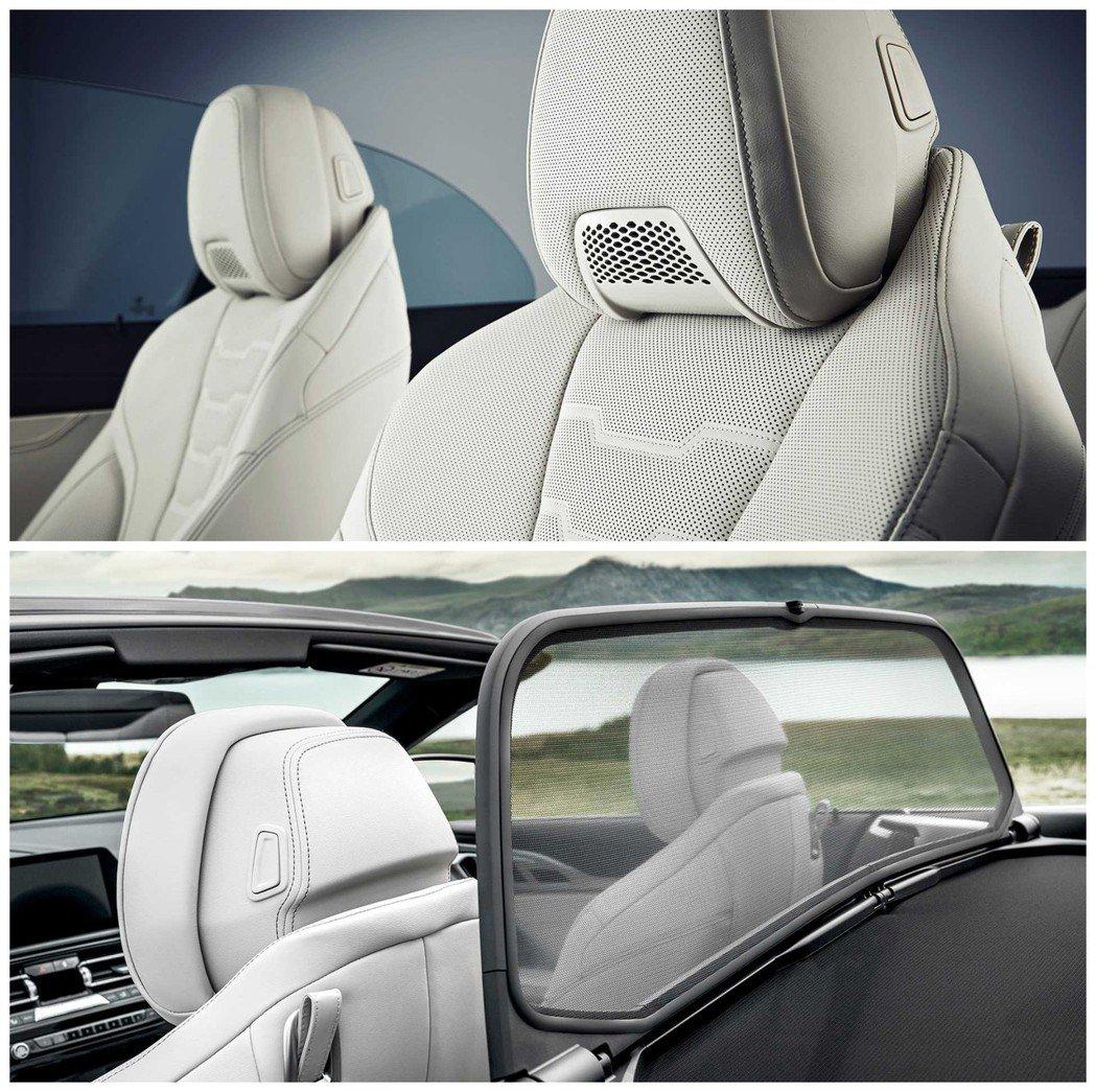 全新BMW 8 Series Convertible(G14)標配迴風板,頭枕下...