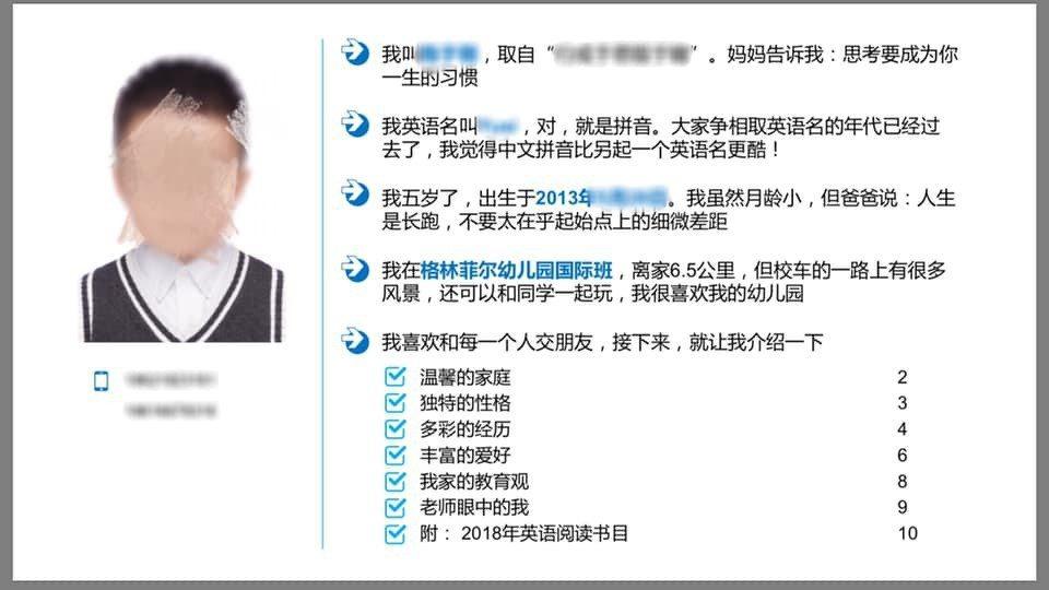 上海五歲男童的履歷,讓網友都驚呆了! 圖片來源/微博