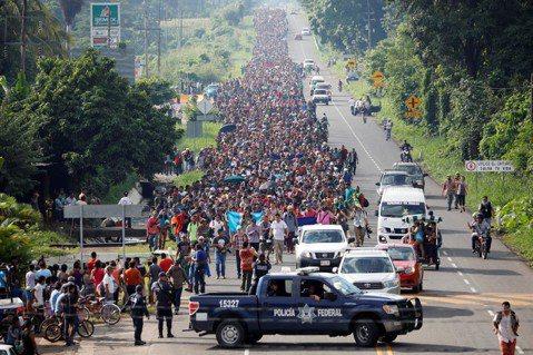 10月底到11月初,從宏都拉斯集結北上的「大型移民團」(Migrant Cara...