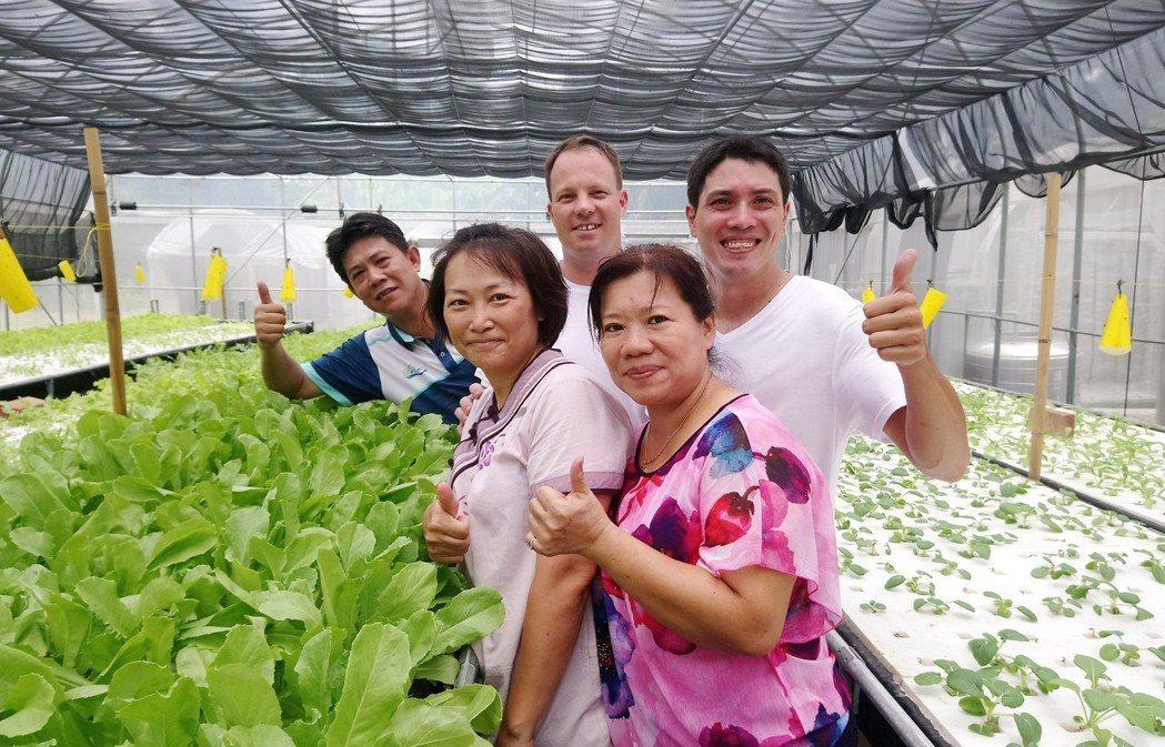 來自美國的克里斯(後右起)、安東尼,導覽國際友人參觀邑米社大農場。記者卜敏正/攝...