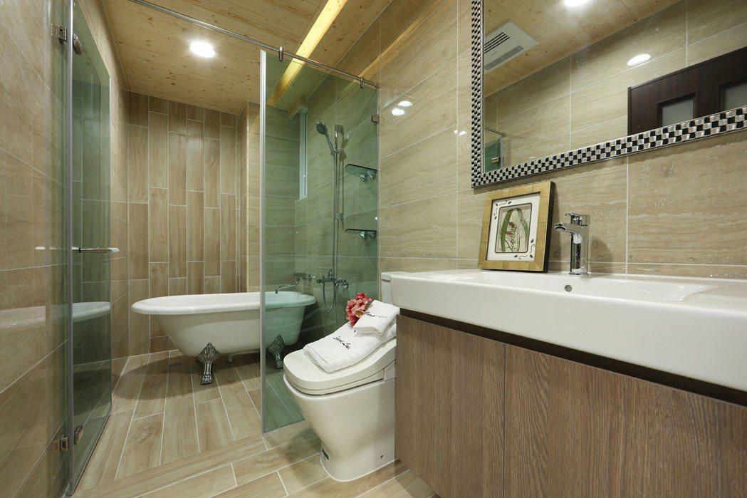 寬敞衛浴,獨立時尚泡湯浴缸,西班牙名品設備,精緻舒適。圖片提供/豐大建設