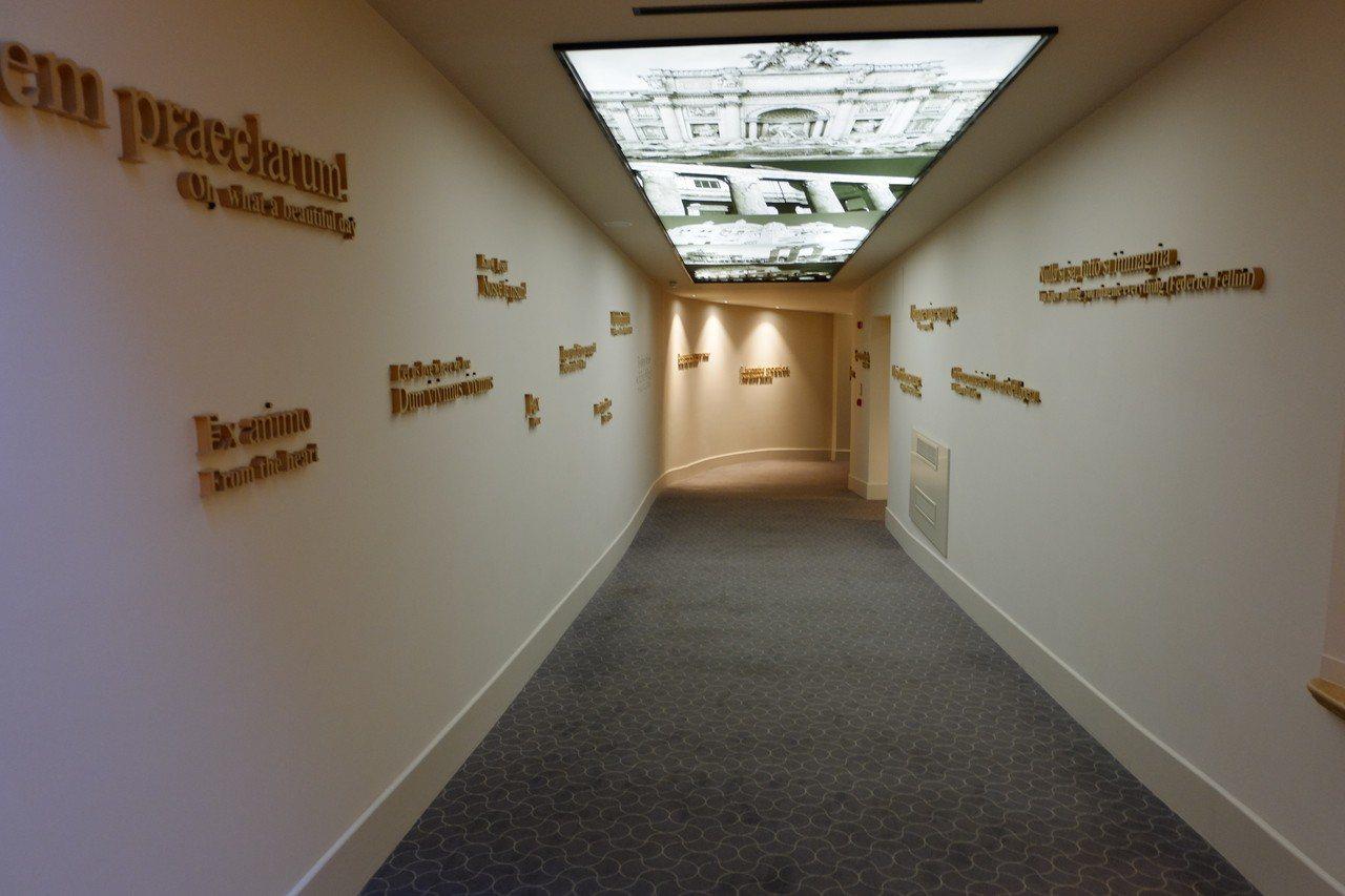 飯店內處處充滿藝術設計,像通往餐廳的走廊,不僅牆面上有各種裝置藝術,連屋頂上都有...