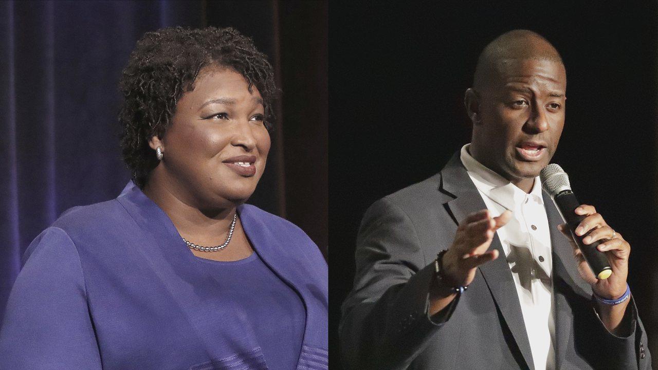 參選喬治亞州州長的艾布蘭(左)與參選佛羅里達州州長的吉倫(右),分別有望成為美國...