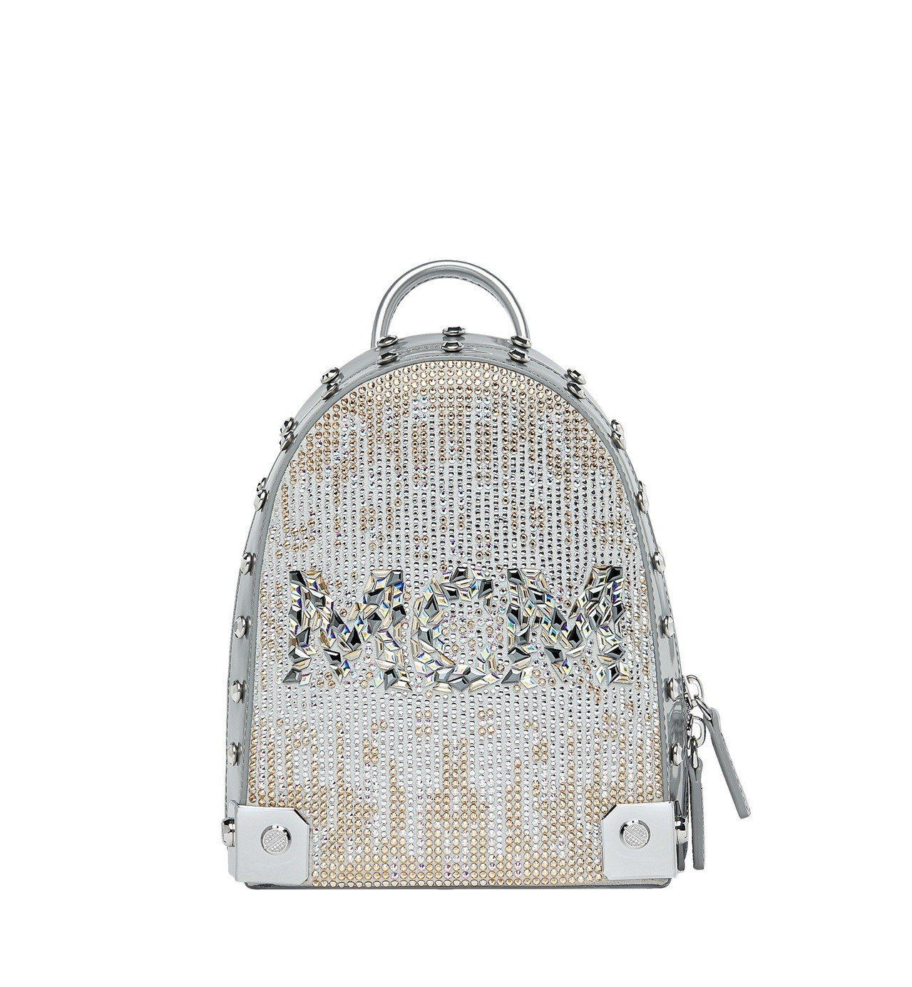 MCM Stark銀色水晶後背包,售價11萬7,000元。圖/MCM提供