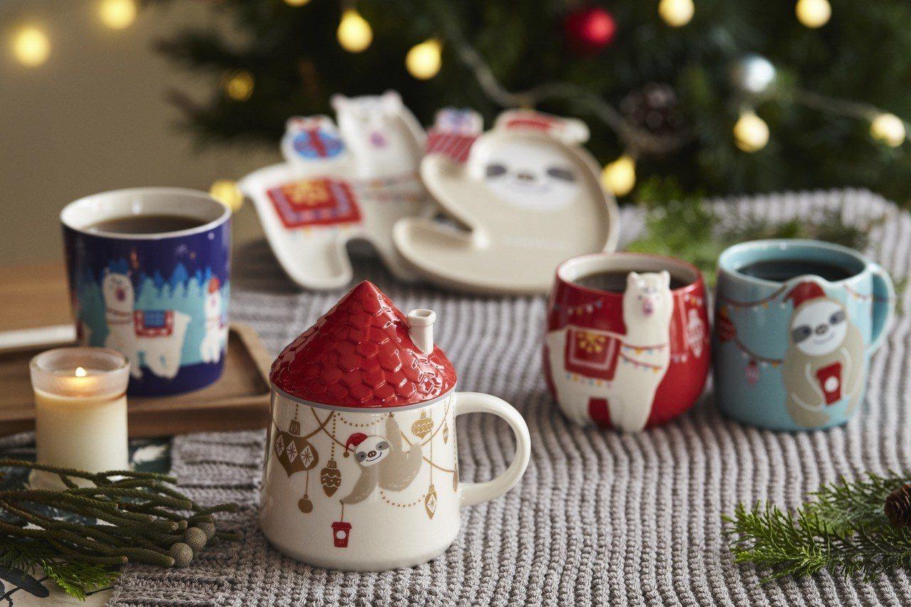 羊駝與樹懶的「Unusual Christmas」系列。圖/星巴克提供