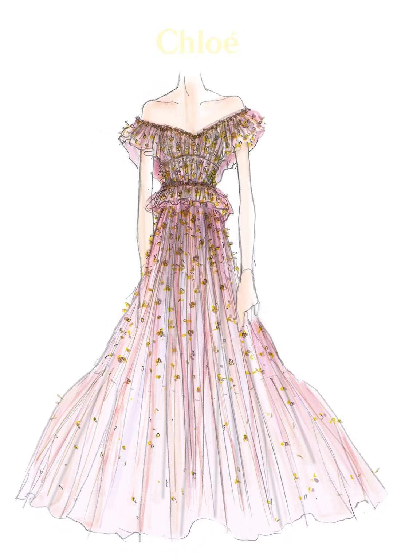 唐嫣婚禮晚宴所穿的嫁衣設計圖。圖/Chloé提供
