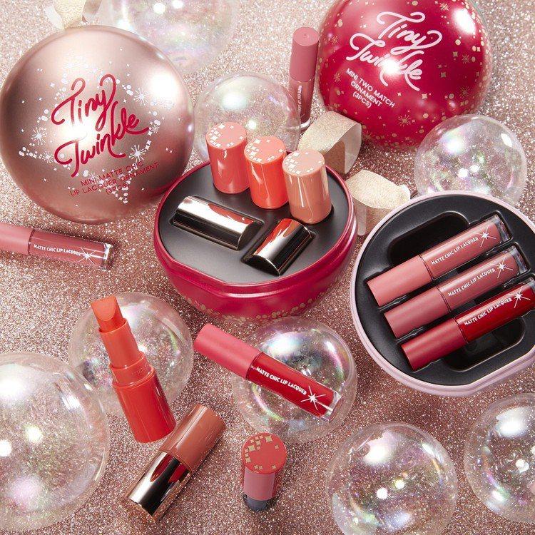 ETUDE HOUSE星光閃爍限量系列推出兩款耶誕球吊飾設計的唇彩禮盒。圖/ET...