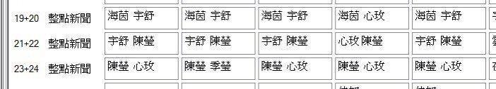 東森新聞排班表/讀者提供。