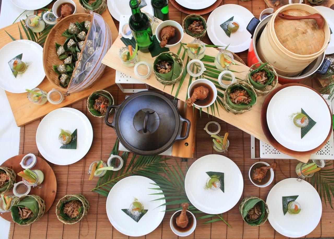 龍潭在地茶食材入菜, 新開發茶食六趣營造出的產地茶餐桌。圖/桃園市客家事務局提供