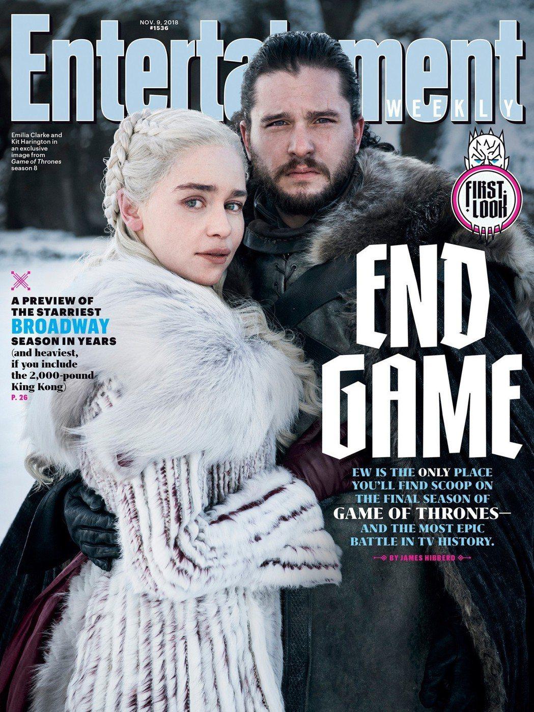 「冰與火之歌:權力遊戲」最終季劇照首曝光,登上「娛樂周刊」封面。圖/摘自EW