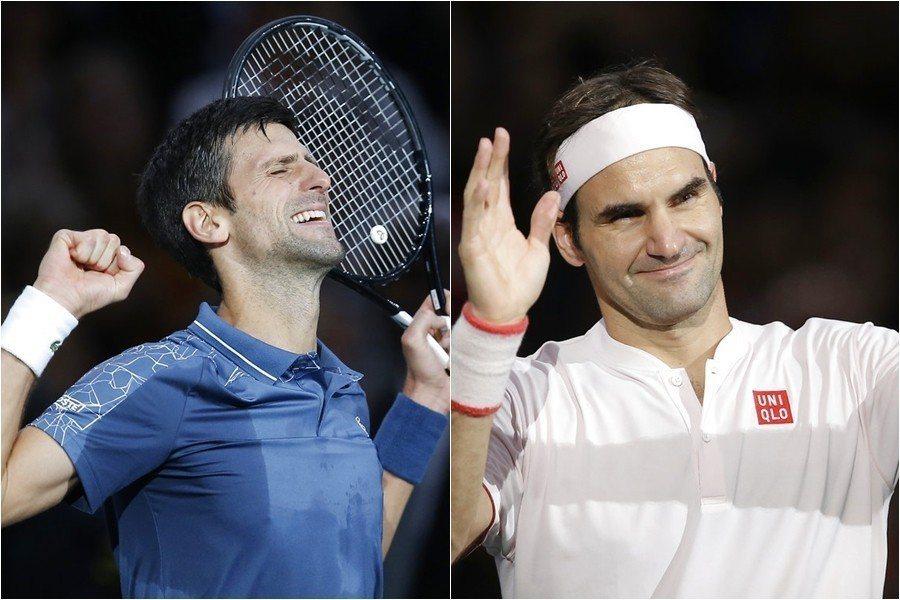 巴黎名人賽接下來的4強賽,尋求生涯百冠的費德勒(左)將碰上近況絕佳的約克維奇(右...