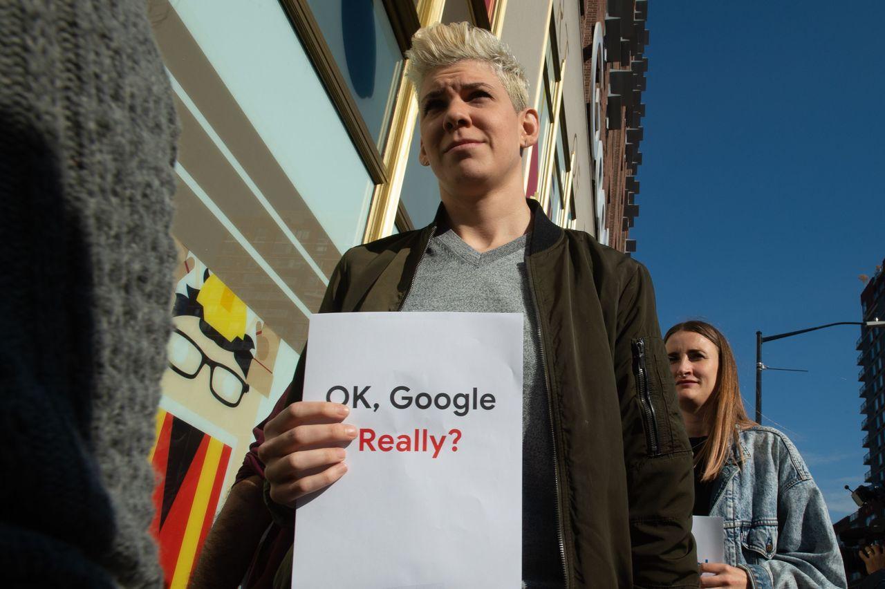 谷歌員工一日在紐約街頭舉行示威活動。 法新社
