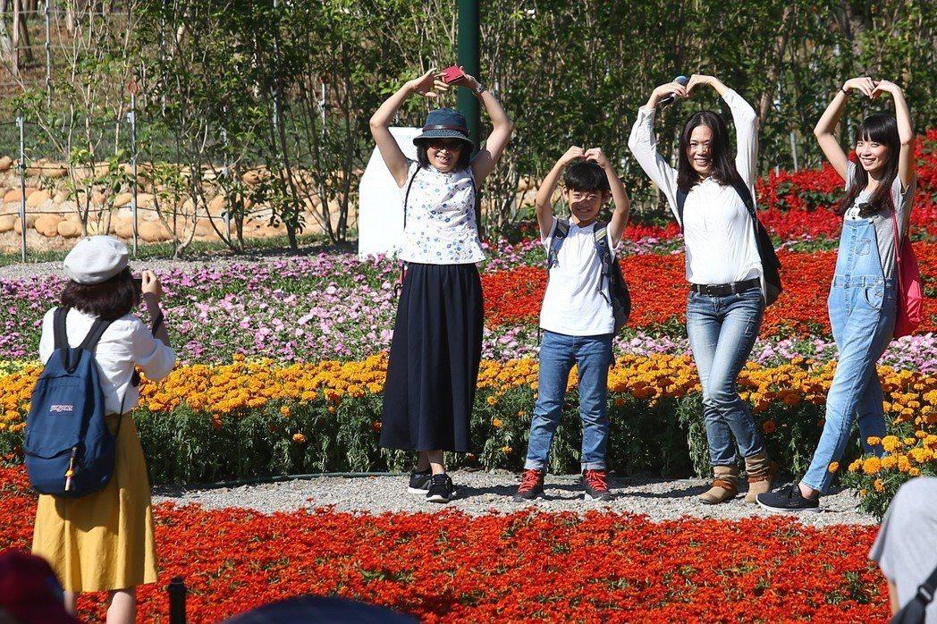 2018台中世界花卉博覽會登場,參觀民眾與美麗的花海合影。 記者王騰毅/攝影