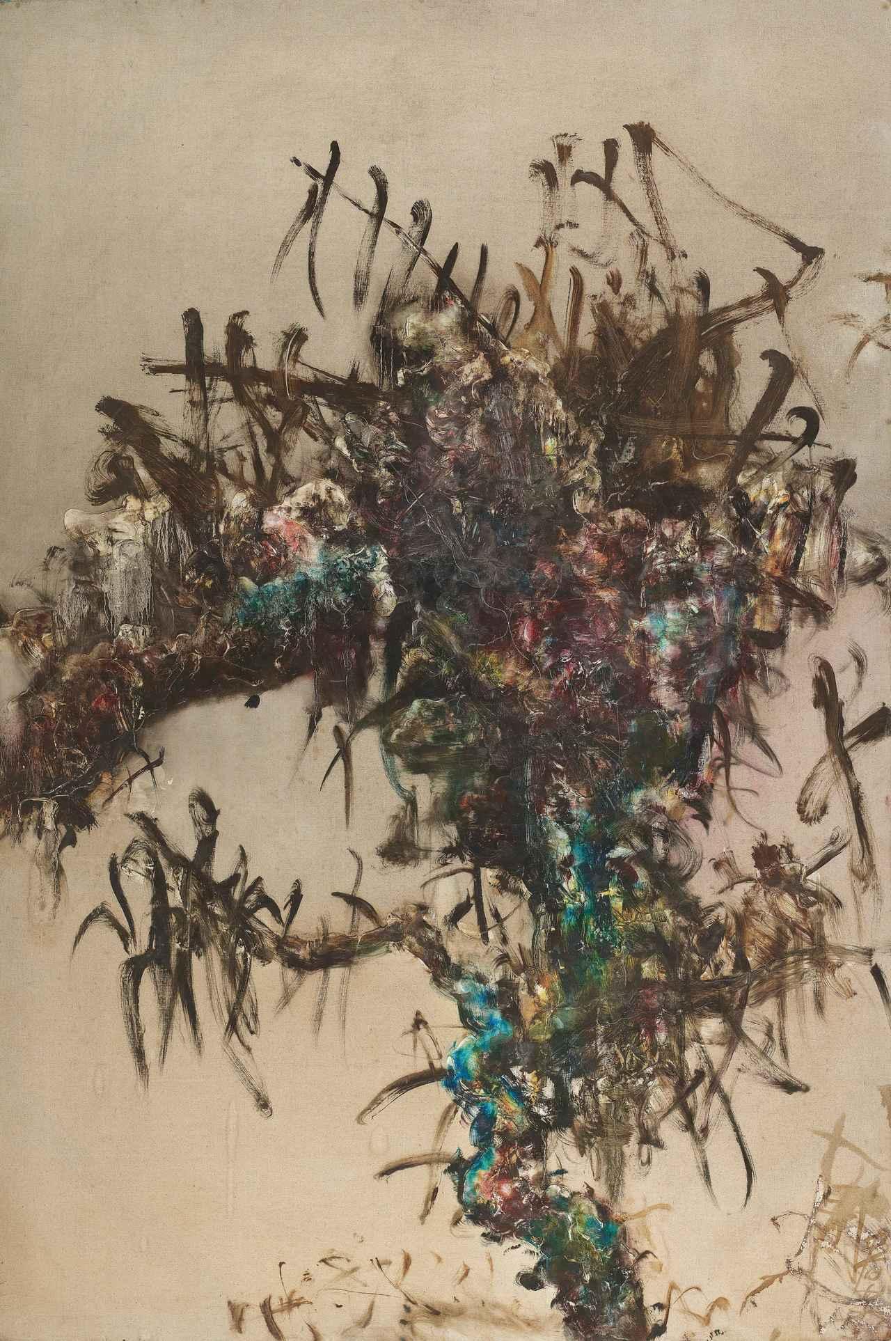 周春芽1993年油畫《樹的系列》,估價約9,779萬元。圖/佳士得提供
