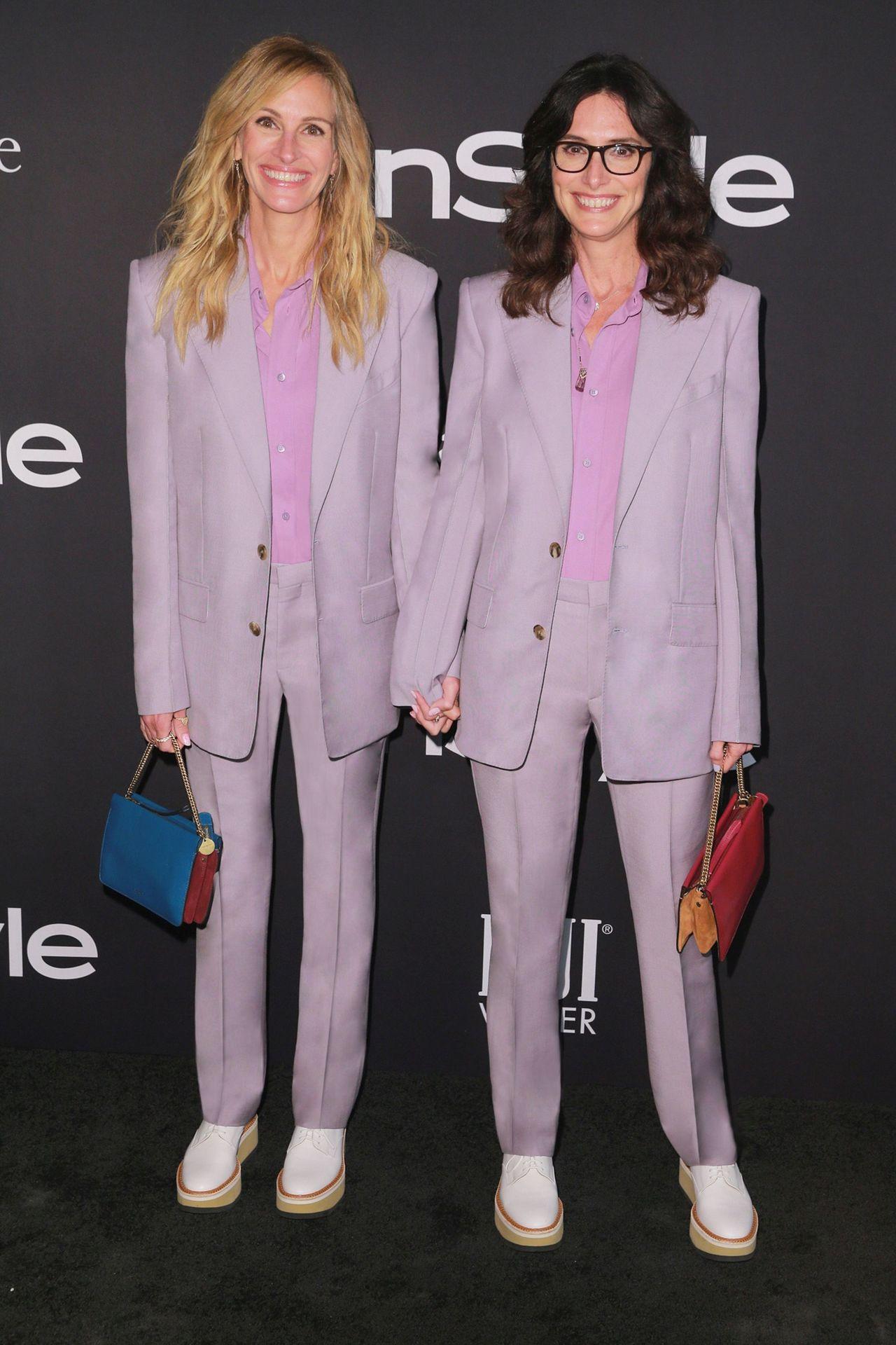 茱莉亞羅勃茲和造型師好友伊莉莎白.斯圖爾特穿姊妹裝,俏皮可愛。圖/GIVENCH...