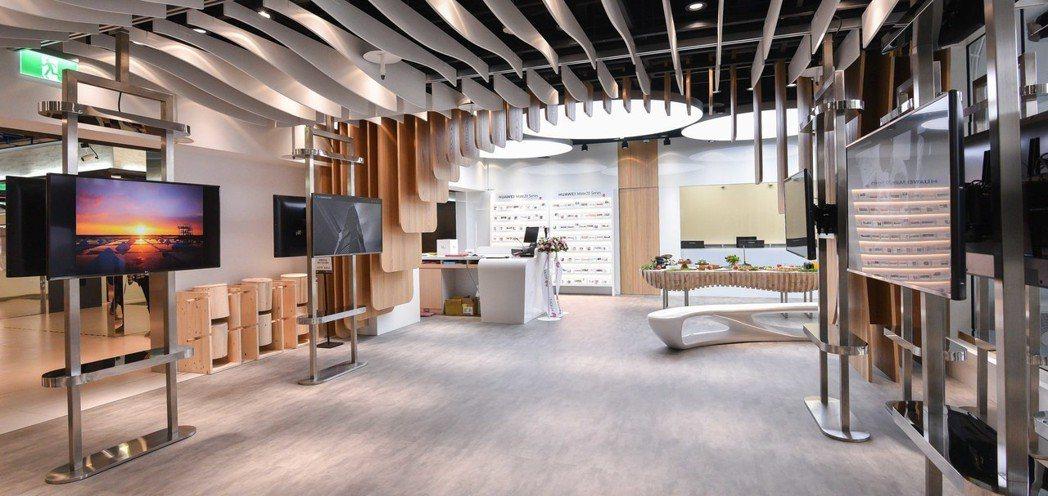 華為品牌客戶服務中心設置維修區、諮詢區和展演區。圖/華為提供