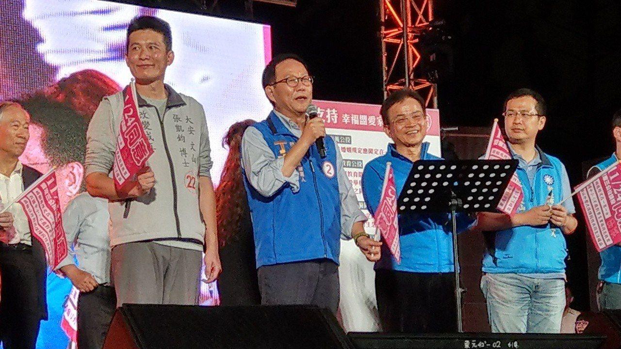 國民黨台北市長候選人丁守中曾多次公開表態支持愛家公投,今參加在大安森林公園舉行「...
