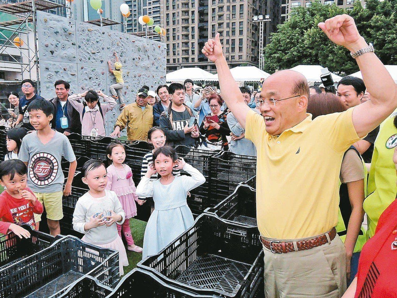 民進黨新北市長參選人蘇貞昌每天衝衝衝,還能接地氣大談「延禧攻略」說,「爾晴」漂亮...
