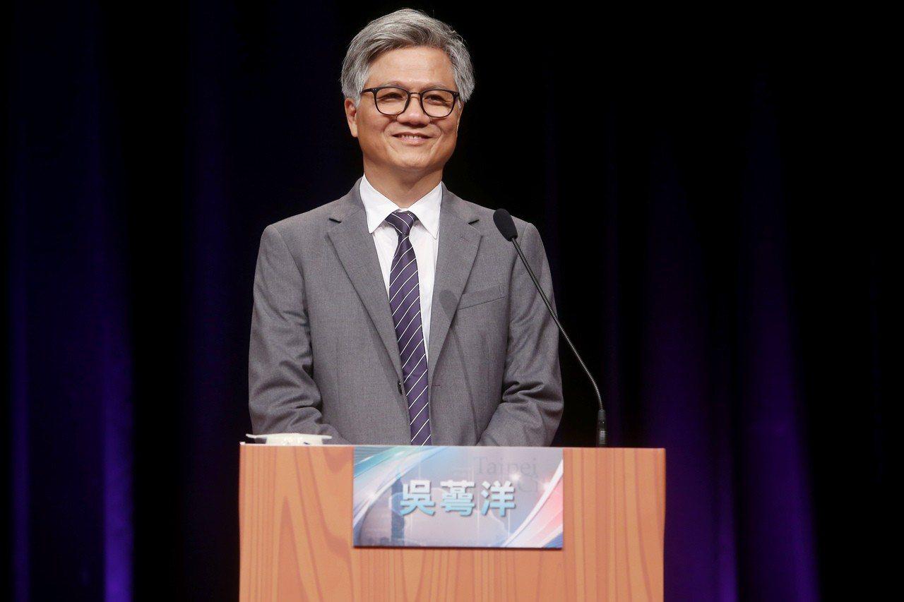 台北市長候選人吳蕚洋昨天出席首場台北市長電視辯論會。記者余承翰/攝影