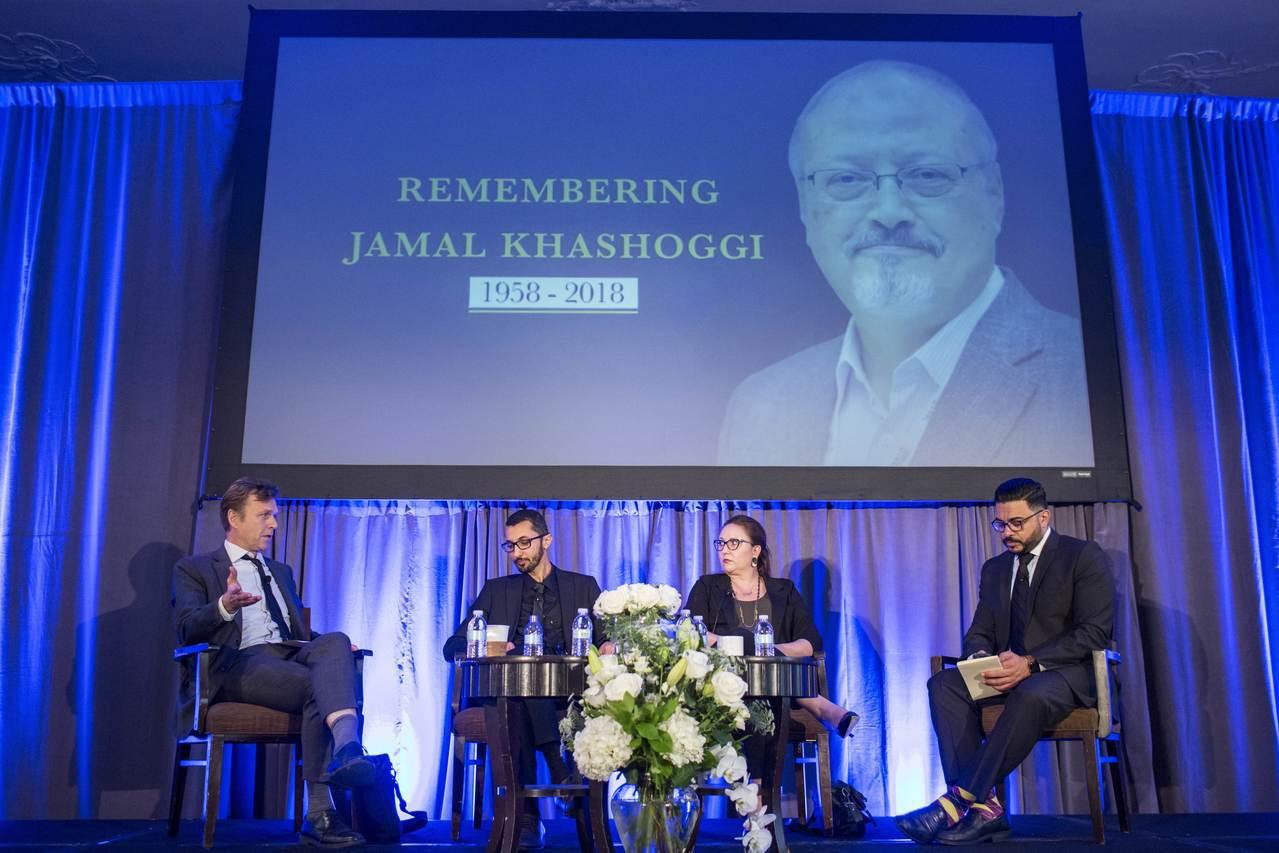 人權組織小組討論沙烏地阿拉伯異議記者哈紹吉被殺案。 法新社