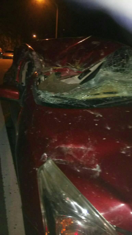 被落石砸中的自小客車,擋風玻璃破裂,車身凹陷。圖/公路局提供