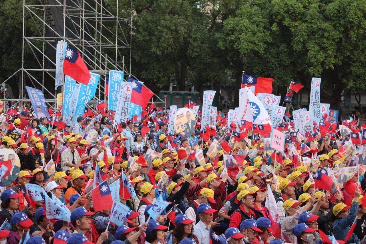 國民黨桃竹竹苗大會師,現場吸引近萬支持者。記者張雅婷/攝影