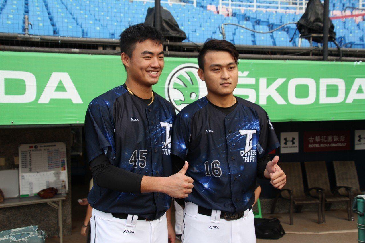 統一獅隊施子謙(左)、江辰晏(右)都有機會在台日賽先發。記者葉姵妤/攝影