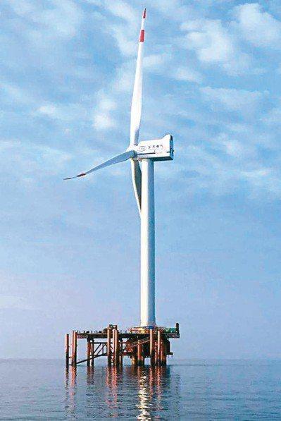 東方風電抗颱風型5MW海上風電機組,在福建興化灣試驗風場投運。 圖/本報四川德陽...