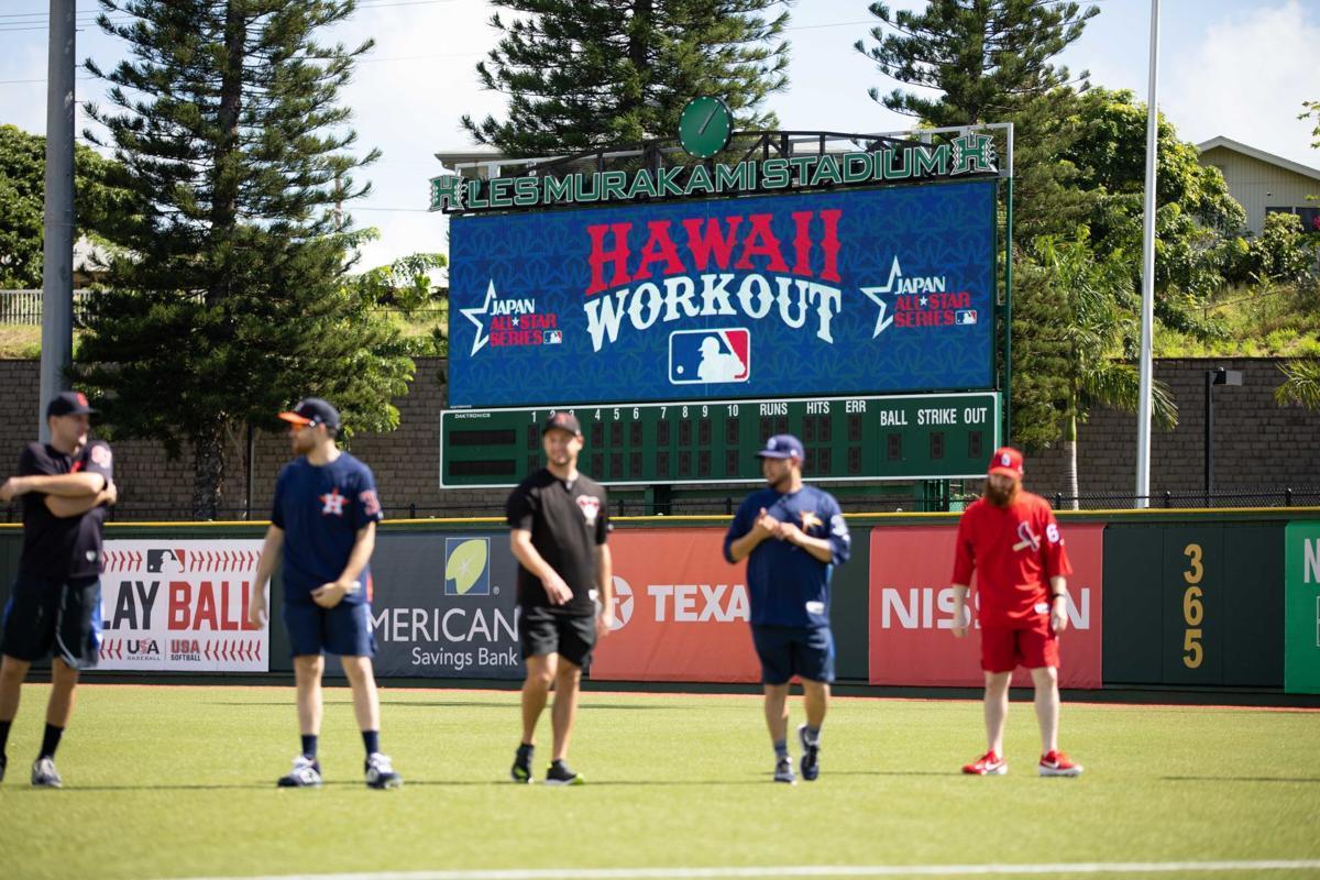 大聯盟球員在夏威夷訓練。 擷圖自Ka Leo Sports推特