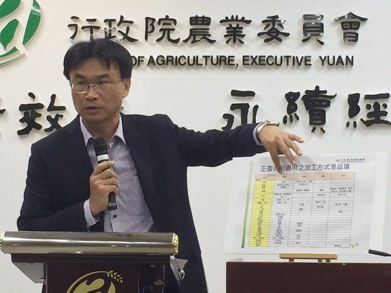農委會副主委陳吉仲解釋「農產品加工廠管理制度」適用的加工方式及品項。(photo...