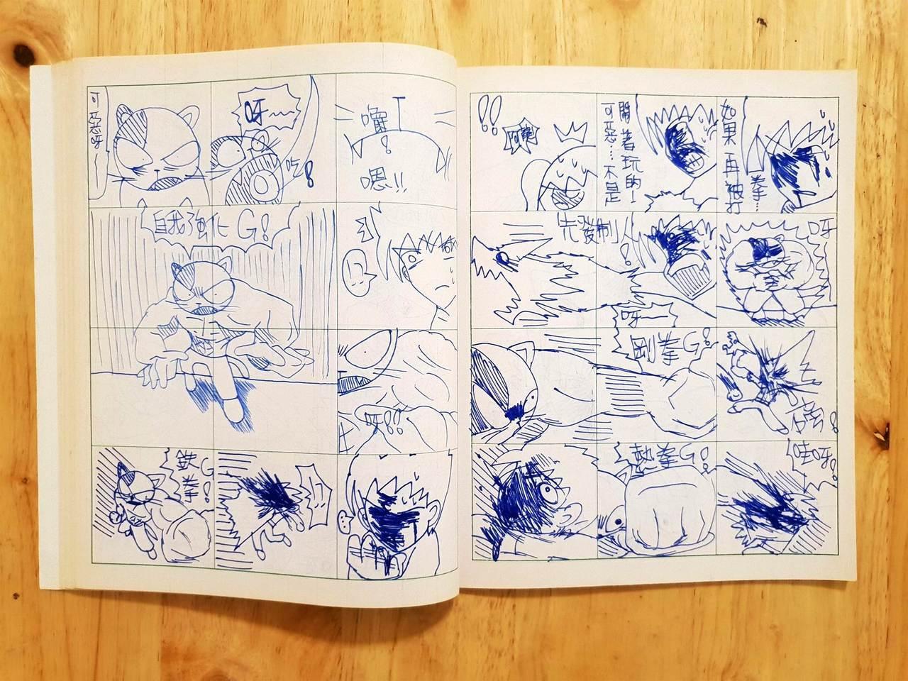 黃色書刊學生時期,以數學作業簿,作為漫畫分鏡腳本創作。(圖/黃色書刊 文/聯合數...