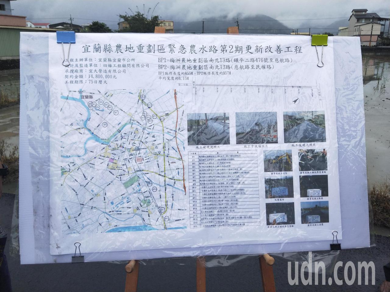 農水路第二期更新改善工程示意圖。記者江婉儀/攝影