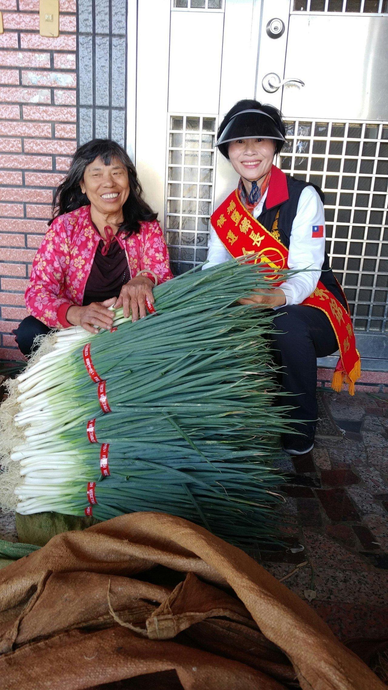 埔鹽鄉長候選人黃素錦送蔥給民眾,推廣在地農業。圖/黃素錦競選總部提供