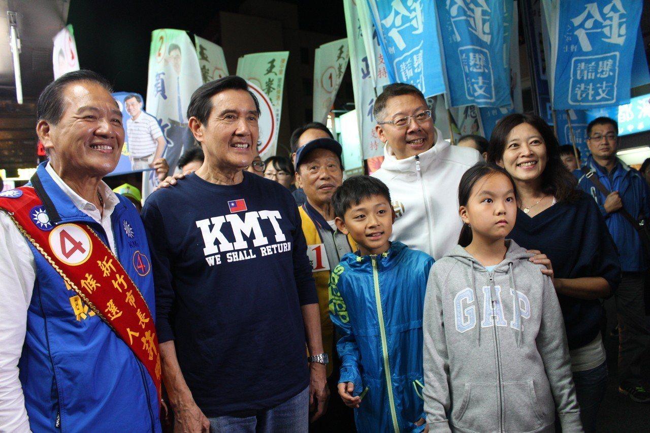 前總統馬英九陪同新竹市長候選人許明財在新竹街頭掃街拜票。 圖/聯合報系資料照片
