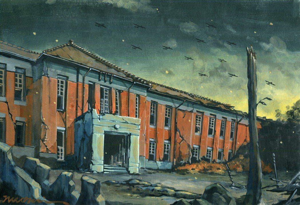 圖為戰火中的高雄中學校,現為高雄中學。為畫師諾米手繪/迷走工作坊提供