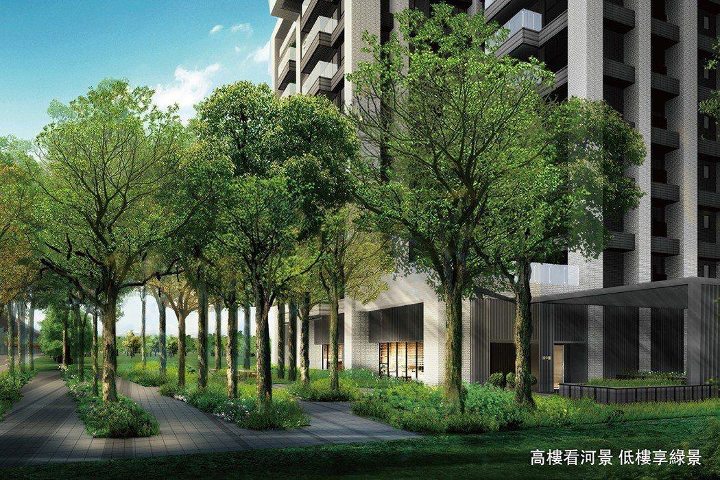 高樓看河景、低層享綠景 圖/國泰朋 提供