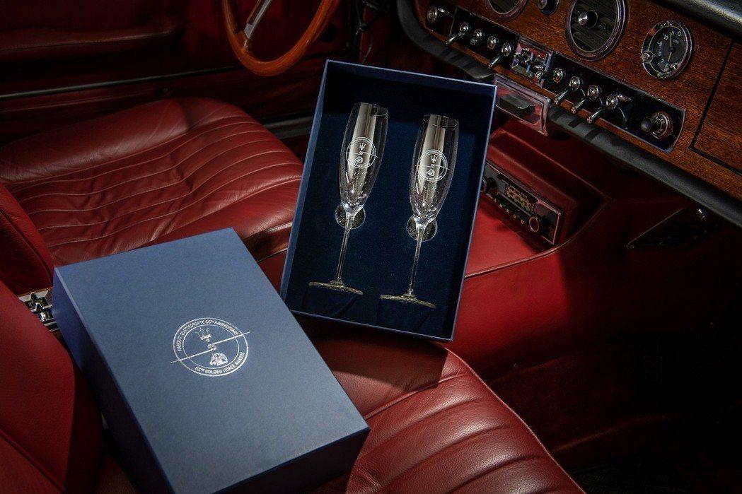 Maserati與金馬獎共同推出限量55週年紀念水晶香檳杯。 圖/Maserat...