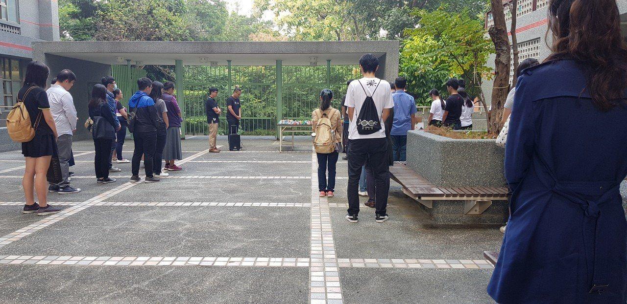 成大女研究生命案上午在校園內舉辦追思會。記者修瑞瑩/攝影