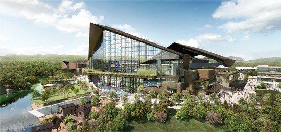 斜切式屋頂與整面玻璃牆是北海道火腿隊新球場造型的一大亮點。圖片取自火腿隊官網