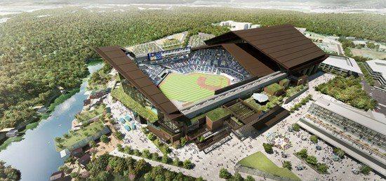 日本職棒北海道火腿隊新球場將有可開闔的屋頂與天然草皮。圖片取自火腿隊官網