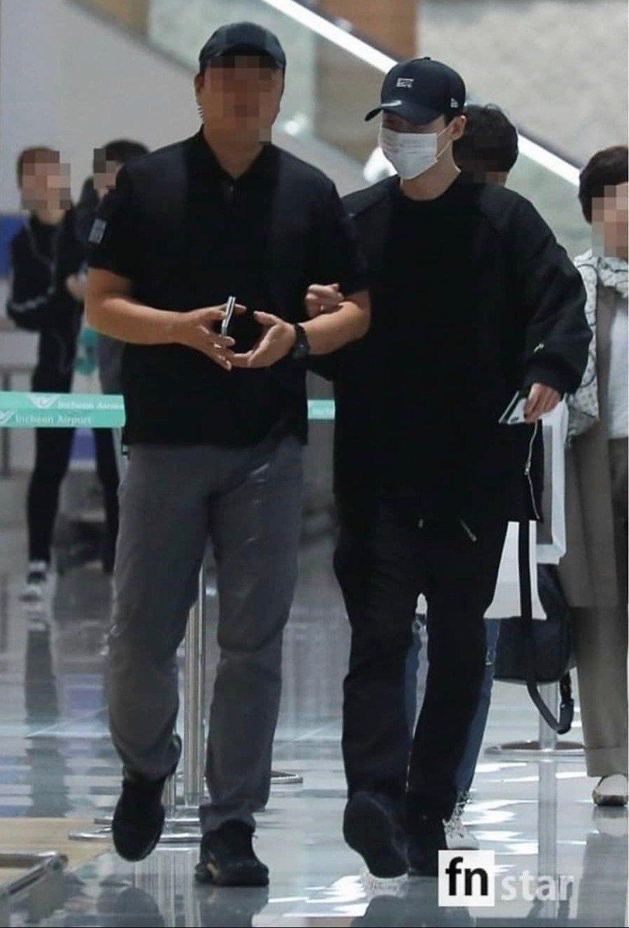李鍾碩一早回到韓國。圖/摘自fnstar
