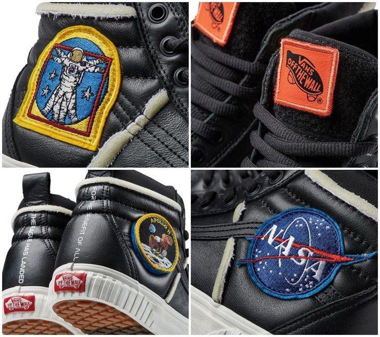 Sk8-Hi 46 MTE DX高筒鞋黑色款則裝飾NASA標誌及阿波羅11號登陸...